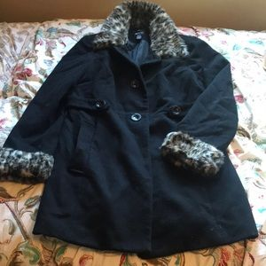 Style & co. Black Jacket with Fur accents